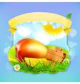 Fresh fruit label mango background for making vector image