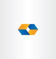 logo o letter o orange blue logotype vector image