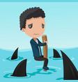 business man afraid shark sea vector image