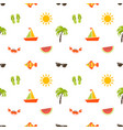 seamless pattern with sea beach icons vector image