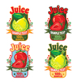 templates labels of juice lemon and strawberries vector image