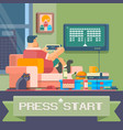 man sitting at home and playing games vector image vector image