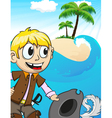 Pirate on desert island vector image