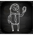 Iphone Man Drawing on Chalk Board vector image