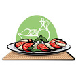 salad with tomatoes and mozzarella vector image vector image