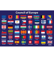 Council of Europe flags vector image vector image