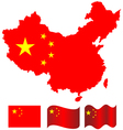China map and flag of China vector image