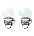 Set of Decorative Cups of Tea vector image