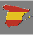 spain map with the spanish flag vector image