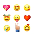 Valentines day emoticon icons Love emoji set vector image