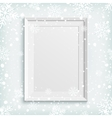 White picture frame on winter background vector image