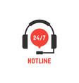 nonstop hotline support with headphones vector image
