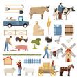 livestock farm elements collection vector image