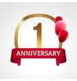 Celebrating 1st years anniversary golden label vector image