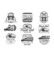 heavy truck club black and white emblems vector image