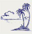 Island palm vector image