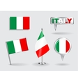 Set of Italian pin icon and map pointer flags vector image