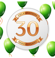 Golden number thirty years anniversary celebration vector image
