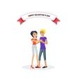Happy Valentine Day Couple Design Flat vector image