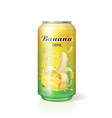 banana juice drink in aluminum can realistic vector image