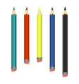 colored wood pencils various length on white vector image
