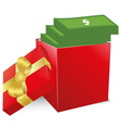 Concept of bonus Red box with gold bow full of vector image
