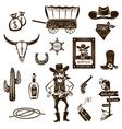 Cowboy Black White Icons Set vector image