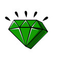 emerald crystal of a diamond shape comic vector image