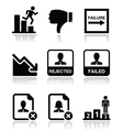 Failure rejected man icons set vector image