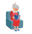 featuring an elderly woman reading a vector image