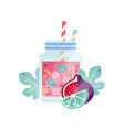 glass jars with sweet refreshing drink summer vector image