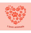 Heart animals footprints vector image