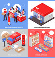 post 2x2 isometric design concept vector image