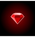 Red Ruby Gemstone Icon on a Black Background vector image