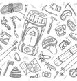 seamless pattern of climbing equipment drawn in vector image