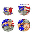 us flag salute soldier pop art avatar icon vector image