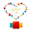 shopping bags and clothes heart flat icons vector image