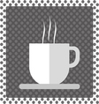 A white cup of hot coffee with foam and steam vector image