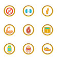 active sport icons set cartoon style vector image