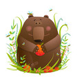 bear cub eating apples in forest vector image