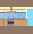 cartoon flat kitchen color background vector image