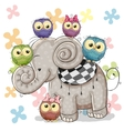 Elephant and Owls vector image