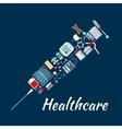 Medical examination icons creating syringe symbol vector image