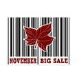 november big sale barcode vector image