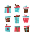 set of nine Christmas gifts on white background vector image
