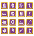 zombie icons set purple vector image