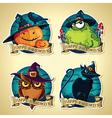 Set of Halloween vintage labels with pumpkins toad vector image