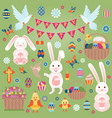 easter flat icons set vector image