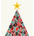 Christmas multimedia music tree greeting card vector image