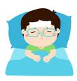 little sick boy in bed cartoon vector image